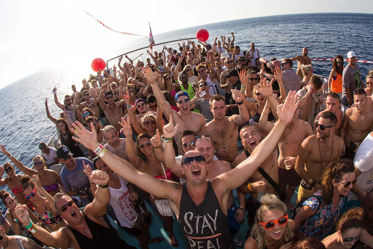 Sunset DJ party boat in Ibiza